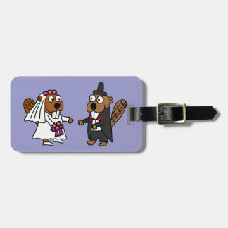 Funny Beaver Bride and Groom Wedding Bag Tag