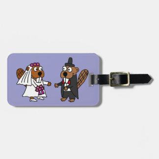 Funny Beaver Bride and Groom Wedding Bag Tag