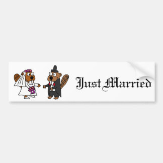 Funny Beaver Bride and Groom Wedding Bumper Sticker