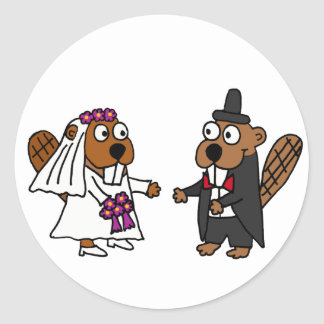 Funny Beaver Bride and Groom Wedding Classic Round Sticker