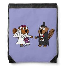 Funny Beaver Bride and Groom Wedding Design Drawstring Backpack