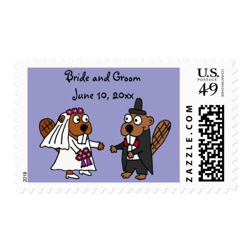 Funny Beaver Bride and Groom Wedding Design Stamp