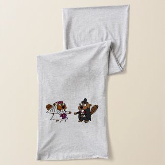 Funny Beaver Bride and Groom Wedding Design Scarf