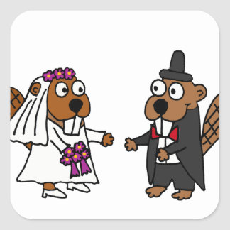 Funny Beaver Bride and Groom Wedding Square Sticker