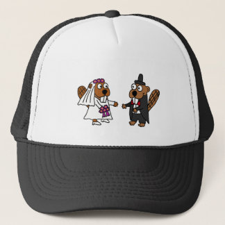 Funny Beaver Bride and Groom Wedding Trucker Hat