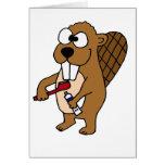 Funny Beaver Brushing Teeth Cartoon Card