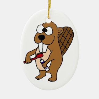 Funny Beaver Brushing Teeth Cartoon Ceramic Ornament