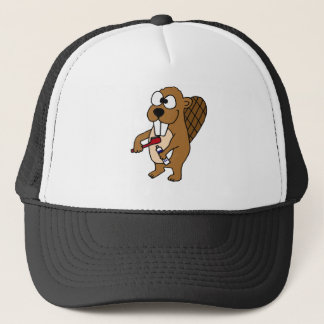 Funny Beaver Brushing Teeth Cartoon Trucker Hat