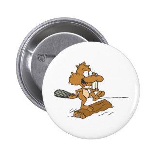 Funny Beaver Button