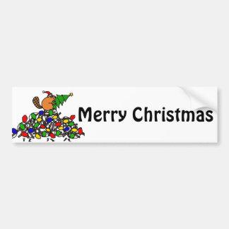 Funny Beaver Christmas Dam with Lights Bumper Sticker