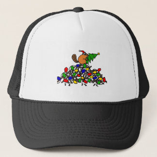 Funny Beaver Christmas Dam with Lights Trucker Hat