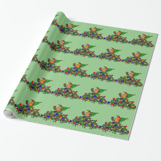 Funny Beaver Christmas Dam with Lights Wrapping Paper