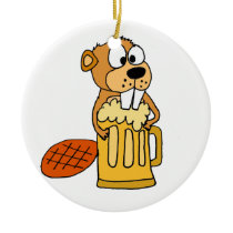 Funny Beaver Drinking Beer Ceramic Ornament