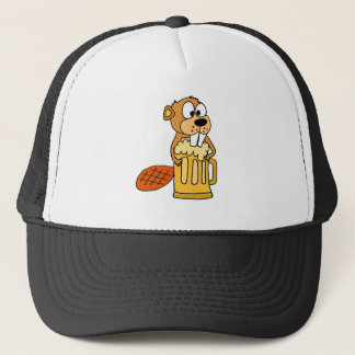 Funny Beaver Drinking Beer Trucker Hat