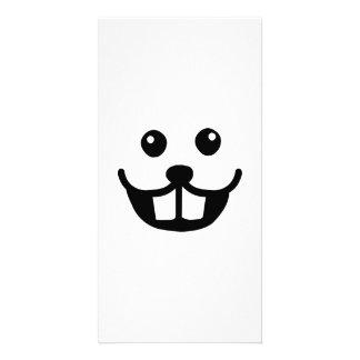 Funny beaver face smile photo card