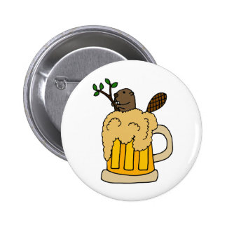 Funny Beaver in Beer Mug Button