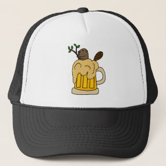 Funny Beaver in Beer Mug Trucker Hat