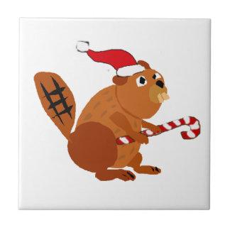 Funny Beaver in Santa Hat Christmas Art Tile