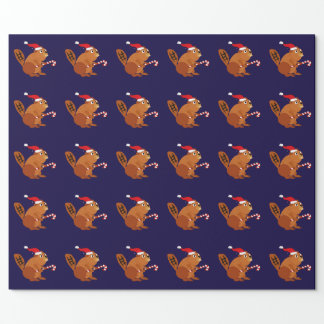 Funny Beaver in Santa Hat Christmas Art Wrapping Paper