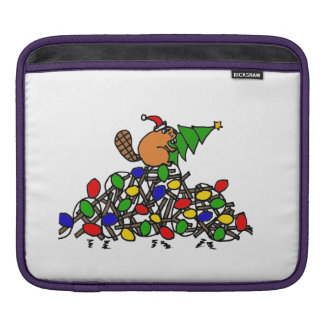 Funny Beaver on Christmas Decorated Dam Sleeve For iPads