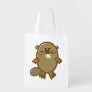 Funny Beaver on White Reusable Grocery Bag