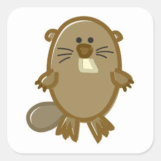 Funny Beaver on White Square Sticker