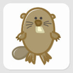 Funny Beaver on White Square Stickers