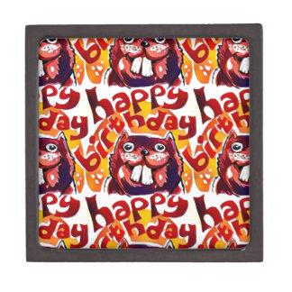 funny beaver with happy birthday text jewelry box