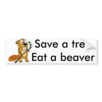 Funny Beaver with Tree Cartoon Bumper Sticker