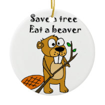 Funny Beaver with Tree Cartoon Ceramic Ornament