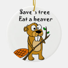 Funny Beaver With Tree Cartoon Ceramic Ornament at Zazzle