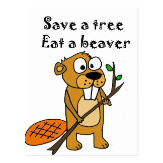 Funny Beaver with Tree Cartoon Postcard