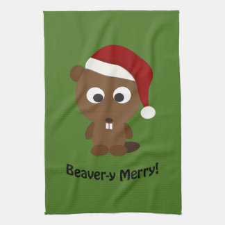 Funny Beaver-y Merry! Santa Beaver Towel