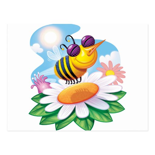 FUnny Bee Cartoon on Daisy Postcard