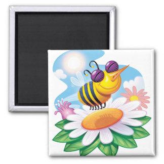 FUnny Bee Cartoon on Daisy Refrigerator Magnet