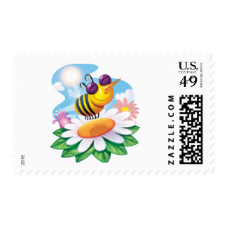 FUnny Bee Cartoon on Daisy Stamp