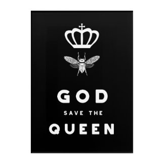 Funny Bee. God Save the Queen. Nerdy Humor Acrylic Print