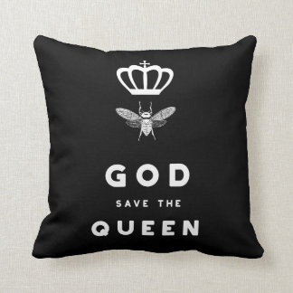 Funny Bee. God Save the Queen. Nerdy Humor Throw Pillow