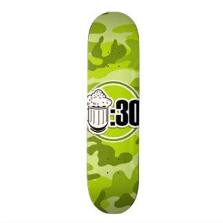 Funny Beer : 30, bright green camo, camouflage Custom Skate Board