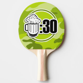 Funny Beer : 30, bright green camo, camouflage Ping-Pong Paddle