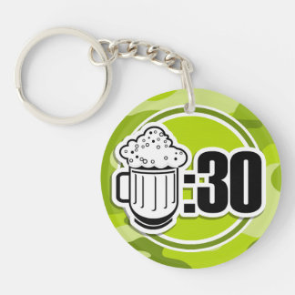 Funny Beer : 30, bright green camo, camouflage Key Chain