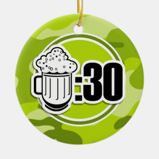 Funny Beer : 30, bright green camo, camouflage Double-Sided Ceramic Round Christmas Ornament