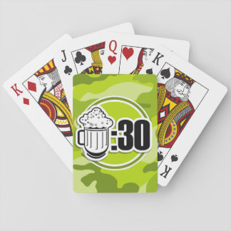 Funny Beer : 30, bright green camo, camouflage Playing Cards