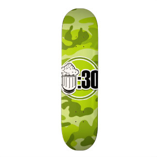 Funny Beer : 30, bright green camo, camouflage Skateboard
