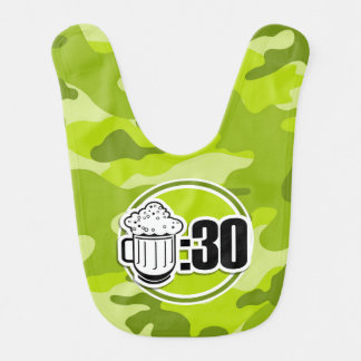 Funny Beer 30 bright green camo camouflage Bib
