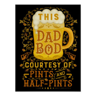 Funny Beer Dad Bod Fathers Humorous Antique Poster
