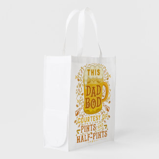 Funny Beer Dad Bod Humorous Vintage Fathers Day Grocery Bag