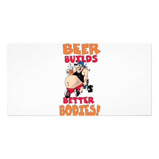 funny beer drinker cartoon personalized photo card