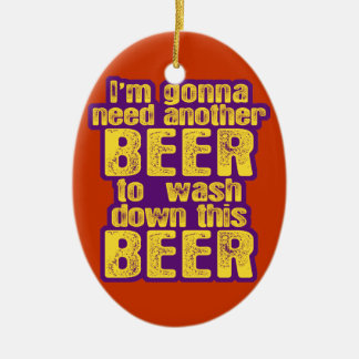 Funny Beer Drinking Ceramic Ornament
