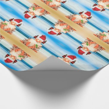 Beach Themed Funny Beer Drinking Christmas Gnome on the Beach Wrapping Paper